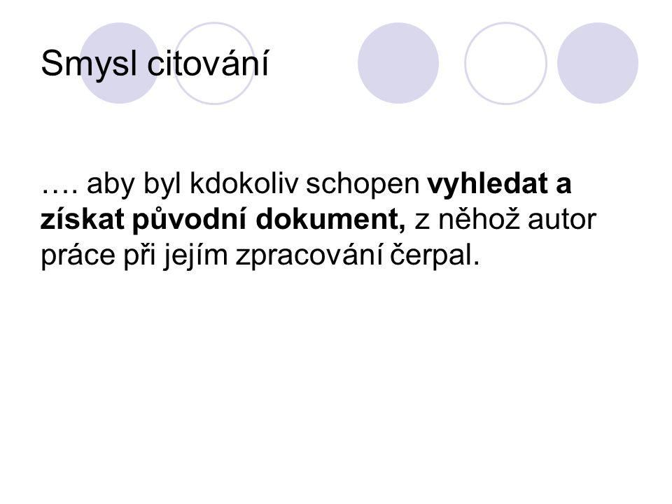 stránkování Podle normy ČSN ISO 690 platné od 1.4.