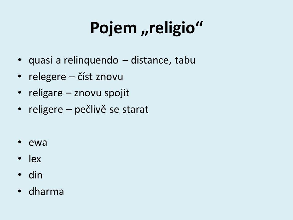 "Pojem ""religio quasi a relinquendo – distance, tabu relegere – číst znovu religare – znovu spojit religere – pečlivě se starat ewa lex din dharma"