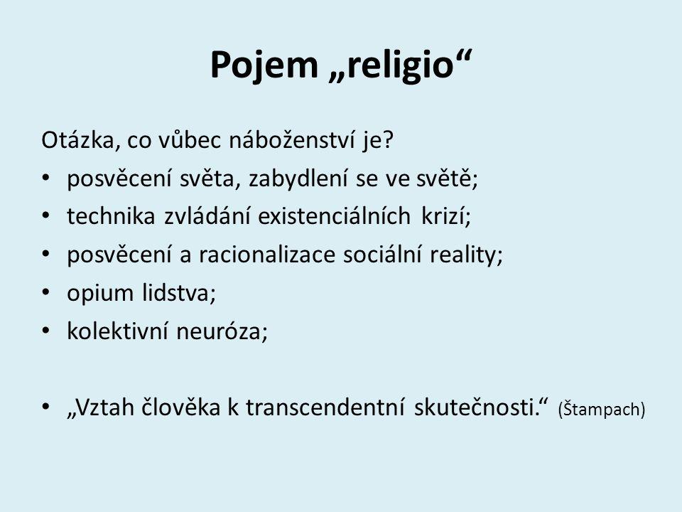 Typologie náboženství Podle pojetí transcendence: teistická (personální); neteistická (apersonální); Podle plurality božského: polyteismus; henoteismus; monoteismus;