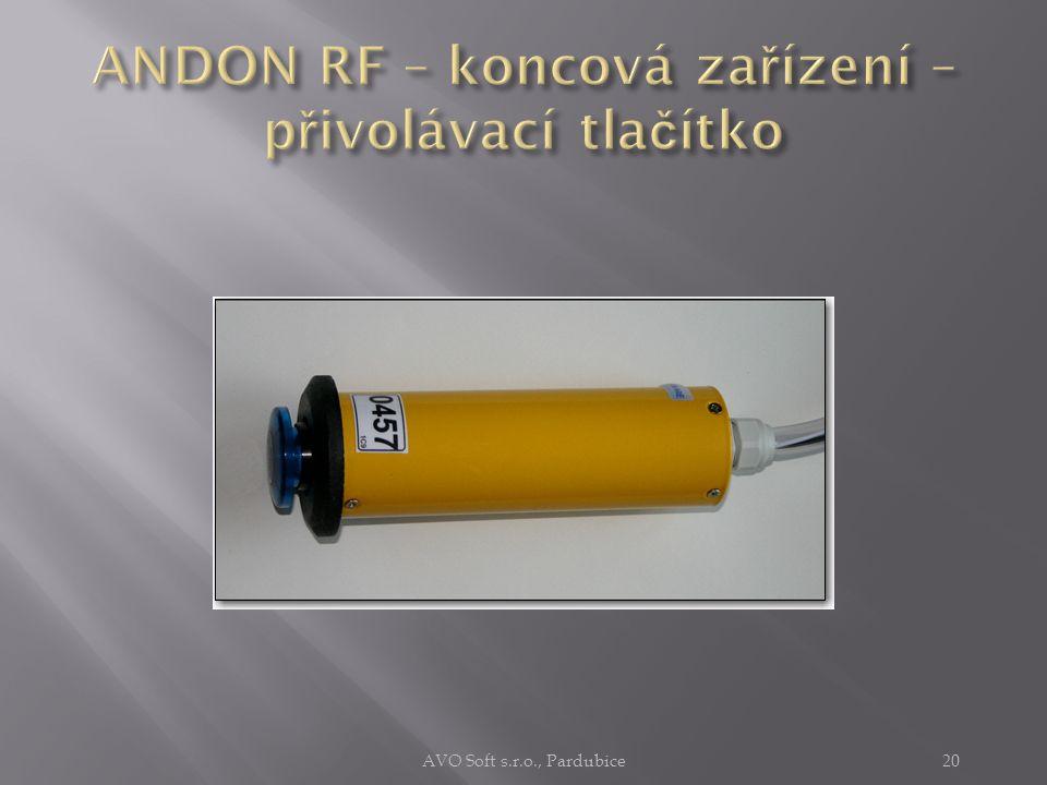 Jako koncové zařízení lze do systému ANDON RF připojit  libovolné koncové zařízení s rozhraním CAN  včetně inteligentních zařízení  typická zařízení  přivolávací tlačítko  snímač čárového kódu  akustická siréna  světelný maják  sdružená tlačítka  tahové spínače AVO Soft s.r.o., Pardubice19
