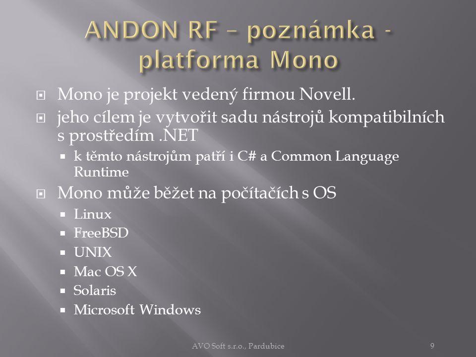 ANDON RF je realizován  jako bezobslužný automat  napsaný a pracující na platformě MS.NET  schopný pracovat i na Linuxu  na platformě Mono AVO Soft s.r.o., Pardubice8