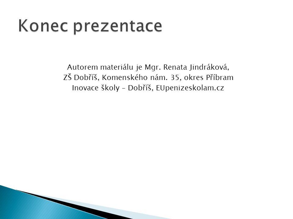 Autorem materiálu je Mgr. Renata Jindráková, ZŠ Dobříš, Komenského nám.
