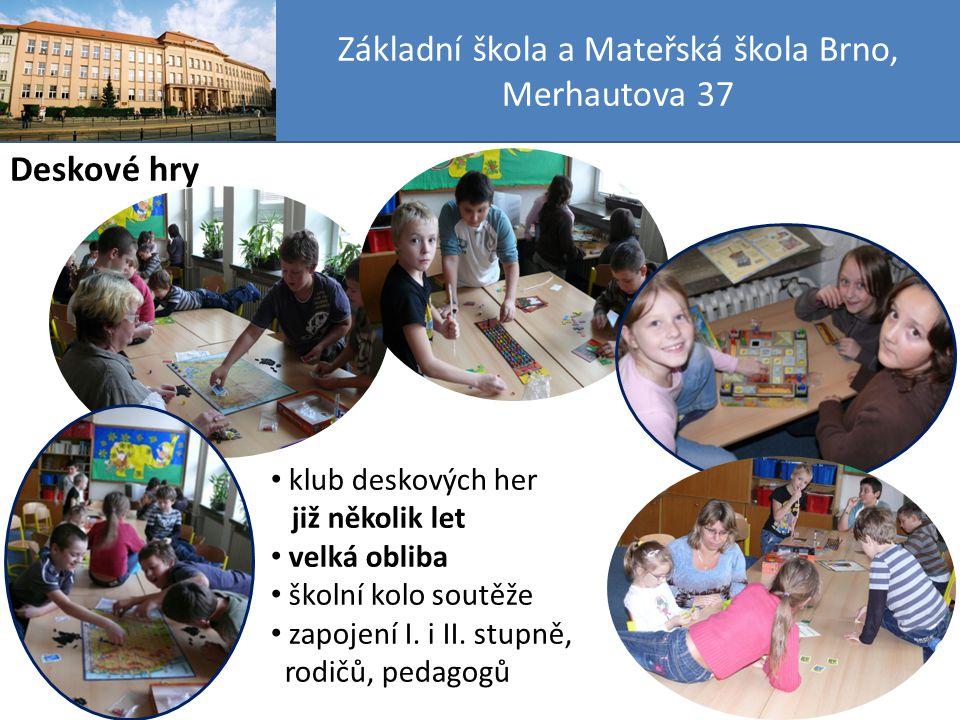 Základní škola a Mateřská škola Brno, Merhautova 37 Deskové hry klub deskových her již několik let velká obliba školní kolo soutěže zapojení I.