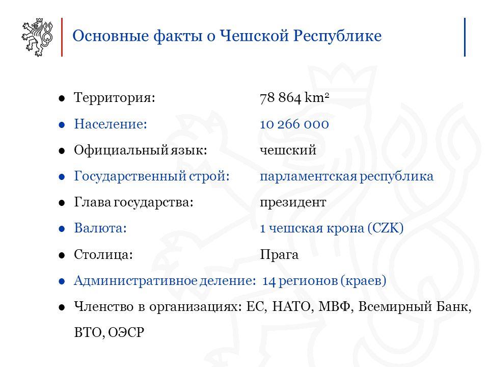 Основные факты о Чешской Республике ●Территория: 78 864 km 2 ●Население: 10 266 000 ●Официальный язык: чешский ●Государственный строй: парламентская республика ●Глава государства: президент ●Валюта: 1 чешская крона (CZK) ●Столица: Прага ●Административное деление: 14 регионов (краев) ●Членство в организациях: ЕС, НАТО, МВФ, Всемирный Банк, ВТО, ОЭСР