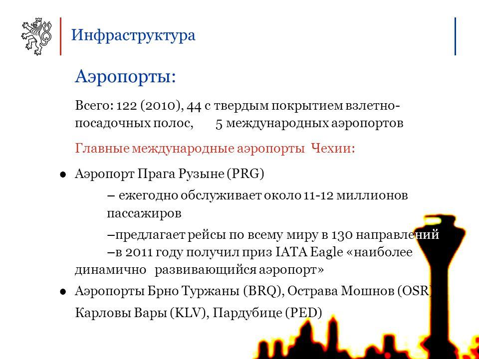 Инфраструктура Аэропорты: Всего: 122 (2010), 44 с твердым покрытием взлетно- посадочных полос, 5 международных аэропортов Главные международные аэропорты Чехии: ●Аэропорт Прага Рузыне (PRG) – ежегодно обслуживает около 11-12 миллионов пассажиров –предлагает рейсы по всему миру в 130 направлений –в 2011 году получил приз IATA Eagle «наиболее динамично развивающийся аэропорт» ●Аэропорты Брно Туржаны (BRQ), Острава Мошнов (OSR), Карловы Вары (KLV), Пардубице (PED)