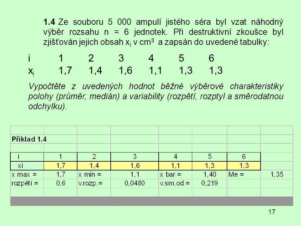 17 1.4Ze souboru 5 000 ampulí jistého séra byl vzat náhodný výběr rozsahu n = 6 jednotek.