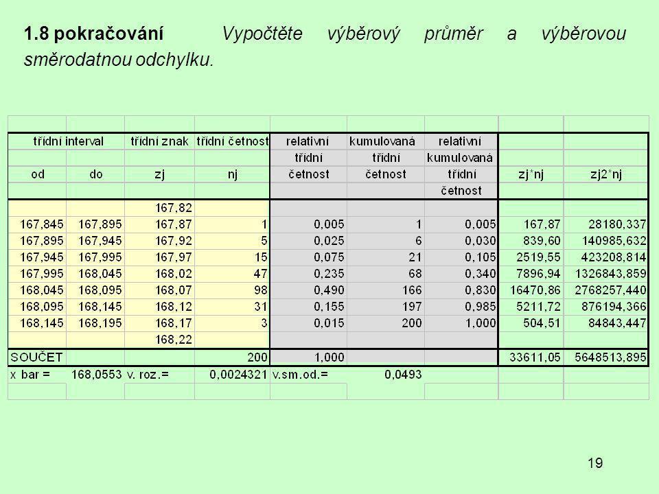 19 1.8 pokračování Vypočtěte výběrový průměr a výběrovou směrodatnou odchylku.