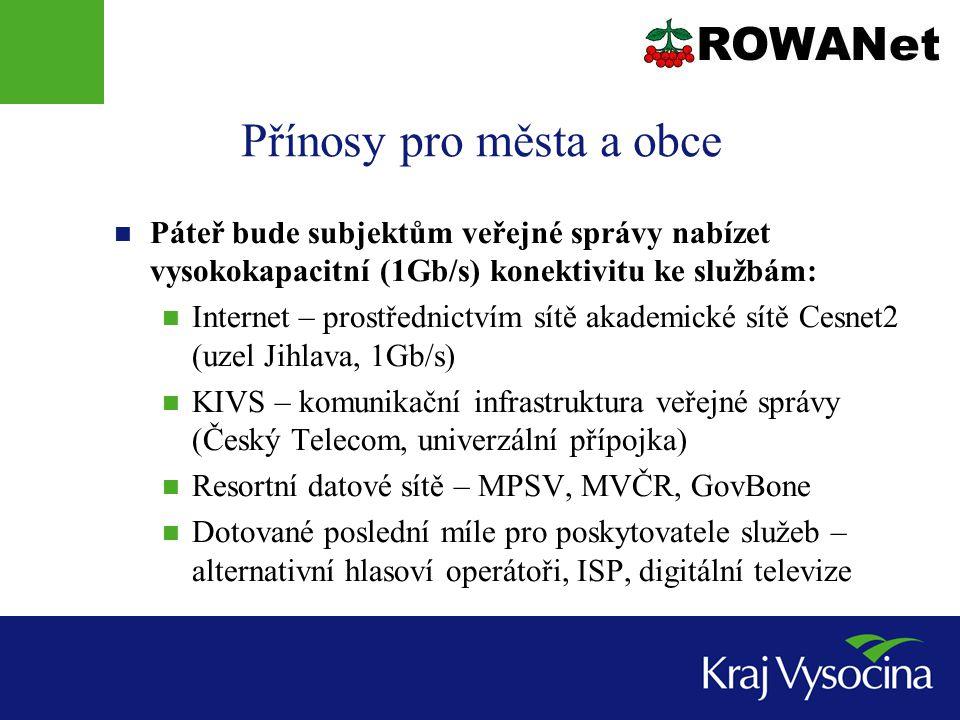 Přínosy pro města a obce Páteř bude subjektům veřejné správy nabízet vysokokapacitní (1Gb/s) konektivitu ke službám: Internet – prostřednictvím sítě a