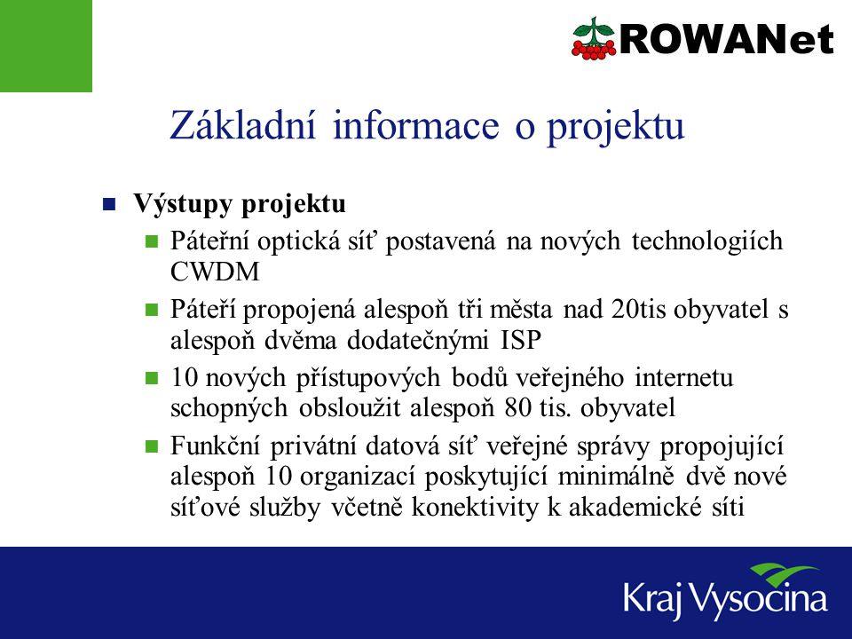 Základní informace o projektu Výstupy projektu Páteřní optická síť postavená na nových technologiích CWDM Páteří propojená alespoň tři města nad 20tis