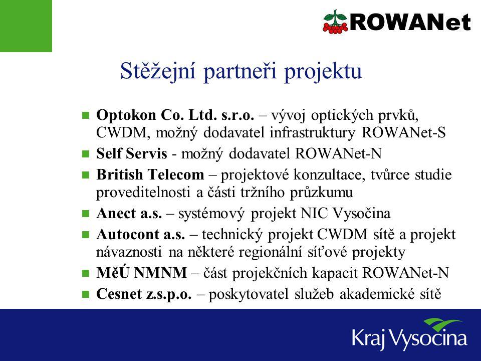 Stěžejní partneři projektu Optokon Co. Ltd. s.r.o. – vývoj optických prvků, CWDM, možný dodavatel infrastruktury ROWANet-S Self Servis - možný dodavat