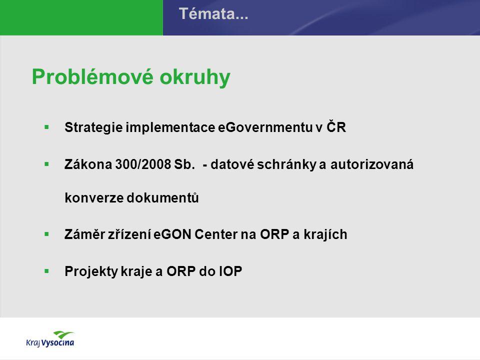 Problémové okruhy  Strategie implementace eGovernmentu v ČR  Zákona 300/2008 Sb. - datové schránky a autorizovaná konverze dokumentů  Záměr zřízení