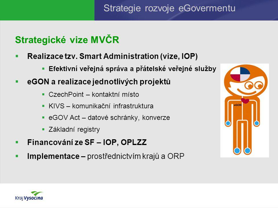 Strategické vize MVČR  Realizace tzv. Smart Administration (vize, IOP)  Efektivní veřejná správa a přátelské veřejné služby  eGON a realizace jedno