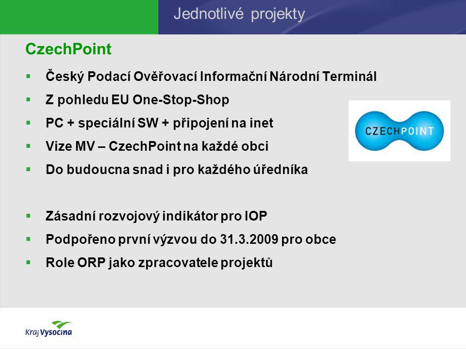 CzechPoint  Český Podací Ověřovací Informační Národní Terminál  Z pohledu EU One-Stop-Shop  PC + speciální SW + připojení na inet  Vize MV – Czech