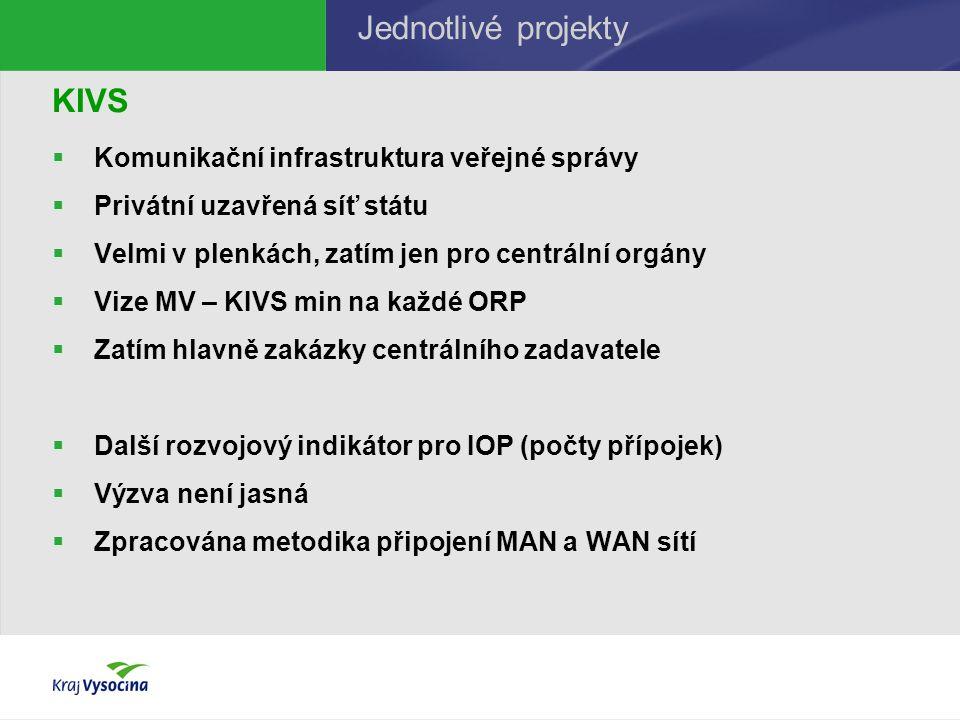 KIVS  Komunikační infrastruktura veřejné správy  Privátní uzavřená síť státu  Velmi v plenkách, zatím jen pro centrální orgány  Vize MV – KIVS min na každé ORP  Zatím hlavně zakázky centrálního zadavatele  Další rozvojový indikátor pro IOP (počty přípojek)  Výzva není jasná  Zpracována metodika připojení MAN a WAN sítí Jednotlivé projekty