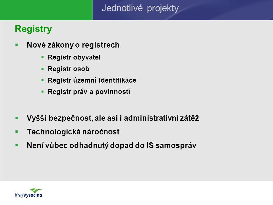 Registry  Nové zákony o registrech  Registr obyvatel  Registr osob  Registr územní identifikace  Registr práv a povinností  Vyšší bezpečnost, ale asi i administrativní zátěž  Technologická náročnost  Není vůbec odhadnutý dopad do IS samospráv Jednotlivé projekty