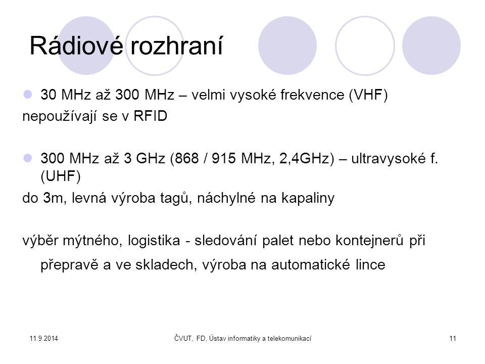 11.9.2014ČVUT, FD, Ústav informatiky a telekomunikací11 Rádiové rozhraní 30 MHz až 300 MHz – velmi vysoké frekvence (VHF) nepoužívají se v RFID 300 MHz až 3 GHz (868 / 915 MHz, 2,4GHz) – ultravysoké f.