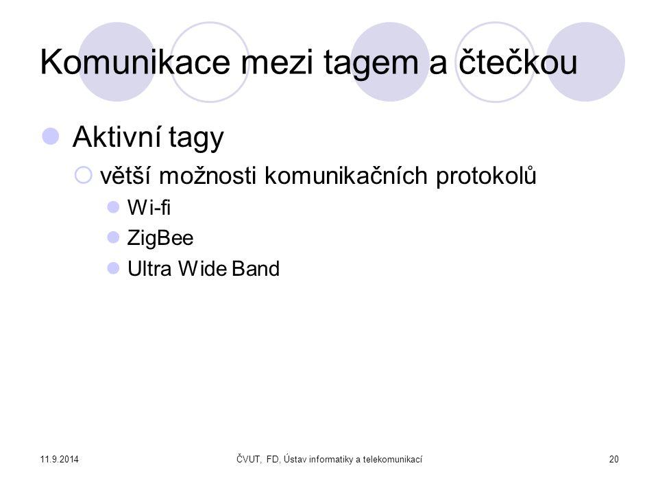 11.9.2014ČVUT, FD, Ústav informatiky a telekomunikací20 Komunikace mezi tagem a čtečkou Aktivní tagy  větší možnosti komunikačních protokolů Wi-fi ZigBee Ultra Wide Band