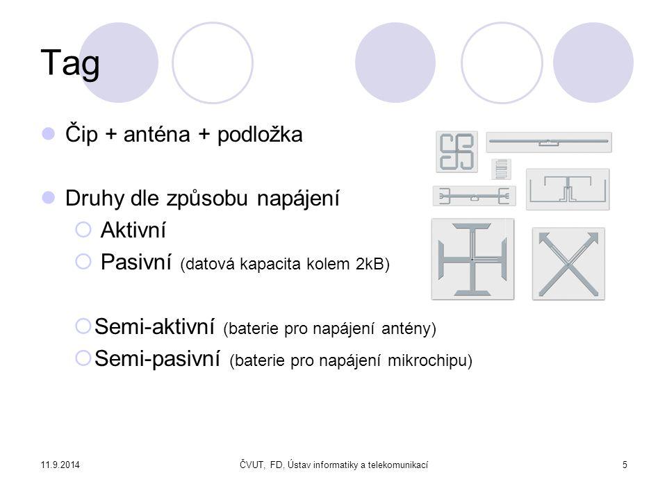 11.9.2014ČVUT, FD, Ústav informatiky a telekomunikací6 Tag Dle zápisu  read only  write once read many, WORM  read/write