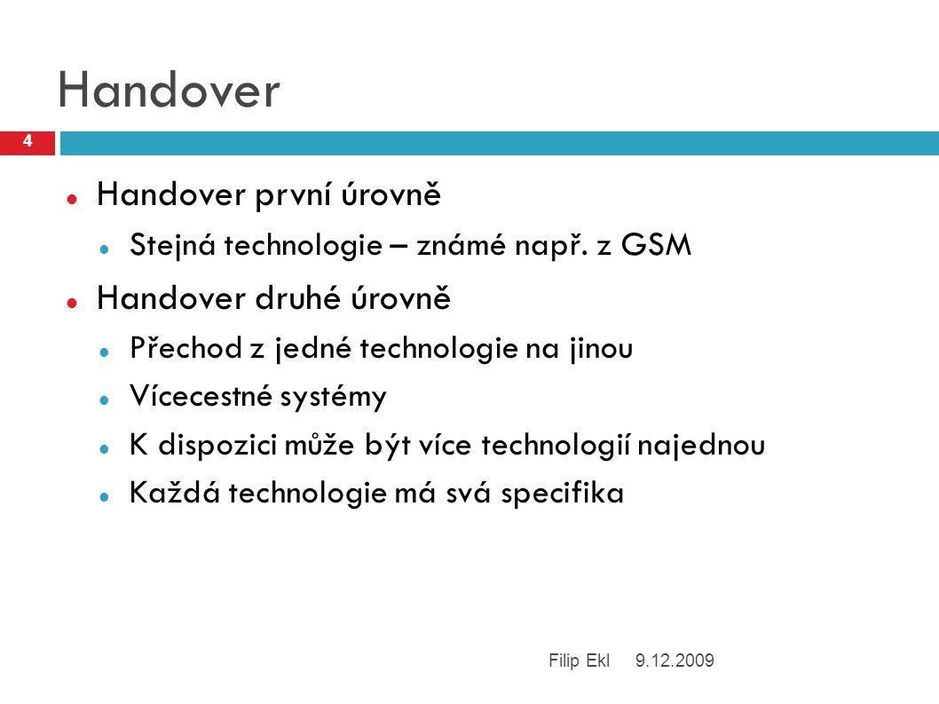 Handover Handover první úrovně Stejná technologie – známé např.