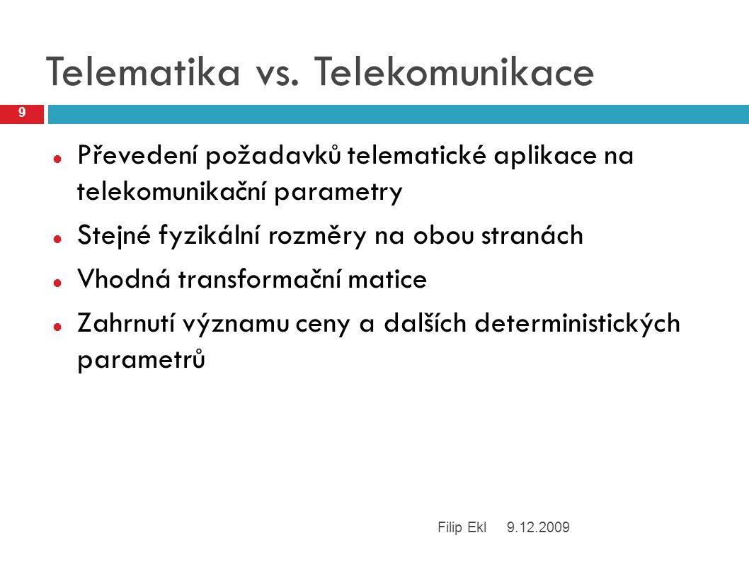 Jednoduchý princip Nejsnáze měřitelné indikátory Intenzita signálu (GSM) Odezva základové stanice (IP) Kontinuální měření intenzity signálu Intenzita nesmí klesnout pod určitou úroveň Predikce kvadratickou extrapolací Při dostatečné intenzitě rozhoduje cena 9.12.2009 10 Filip Ekl