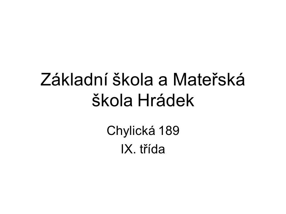 Základní škola a Mateřská škola Hrádek Chylická 189 IX. třída