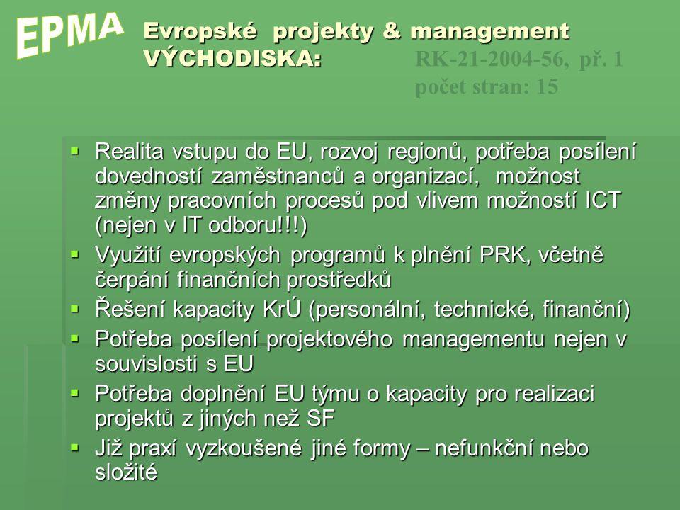 Evropské projekty & management VÝCHODISKA: Evropské projekty & management VÝCHODISKA: RK-21-2004-56, př. 1 počet stran: 15  Realita vstupu do EU, roz