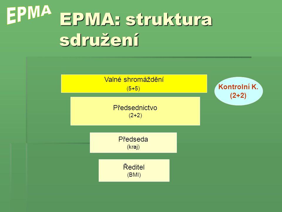 EPMA: struktura sdružení Valné shromáždění (5+5) Předsednictvo (2+2) Kontrolní K. (2+2) Předseda (kraj) Ředitel (BMI)