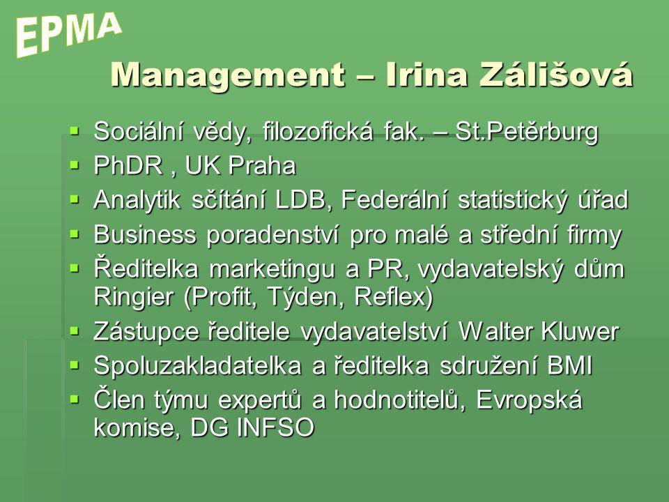 Management – Irina Zálišová  Sociální vědy, filozofická fak. – St.Petěrburg  PhDR, UK Praha  Analytik sčítání LDB, Federální statistický úřad  Bus