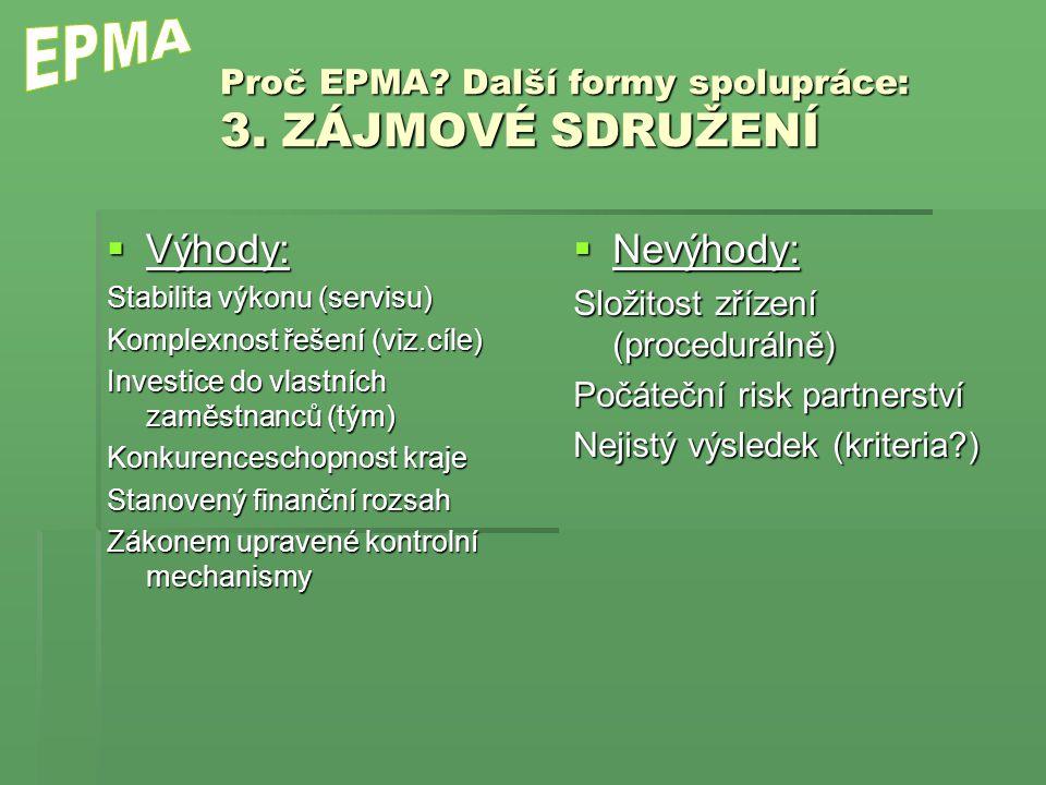 Proč EPMA. Další formy spolupráce: 3.