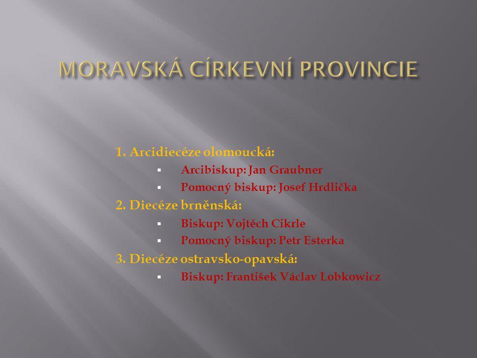 1. Arcidiecéze olomoucká:  Arcibiskup: Jan Graubner  Pomocný biskup: Josef Hrdlička 2. Diecéze brněnská:  Biskup: Vojtěch Cikrle  Pomocný biskup: