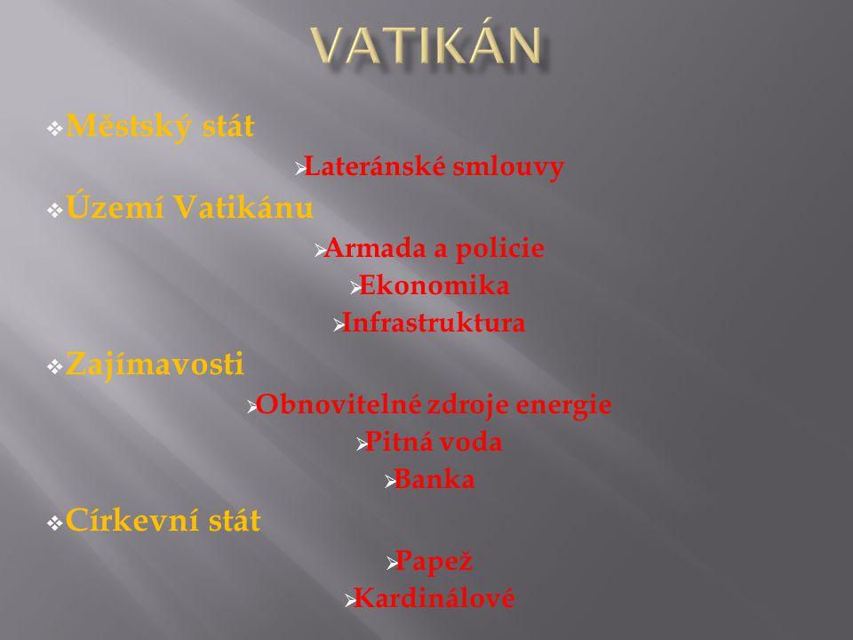  Městský stát  Lateránské smlouvy  Území Vatikánu  Armada a policie  Ekonomika  Infrastruktura  Zajímavosti  Obnovitelné zdroje energie  Pitná voda  Banka  Církevní stát  Papež  Kardinálové