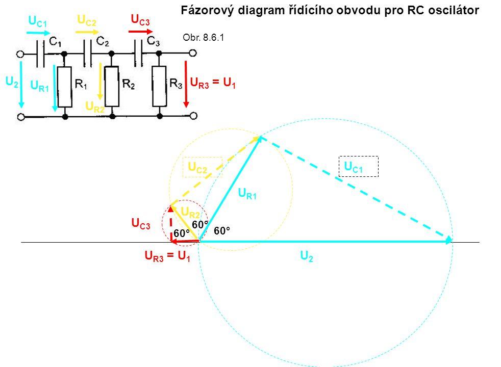 Fázorový diagram řídícího obvodu pro RC oscilátor U2U2 U2U2 U C1 U R1 U C2 U C3 U R2 U R3 = U 1 U C2 U R2 U C3 U R3 = U 1 60° Obr. 8.6.1