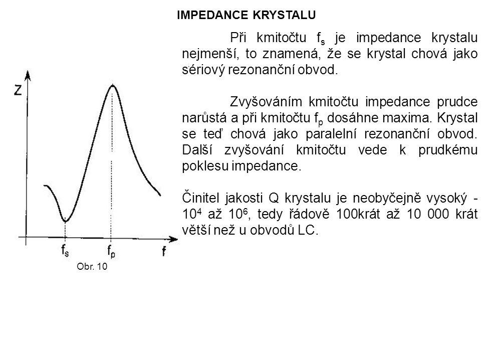 IMPEDANCE KRYSTALU Při kmitočtu f s je impedance krystalu nejmenší, to znamená, že se krystal chová jako sériový rezonanční obvod. Zvyšováním kmitočtu