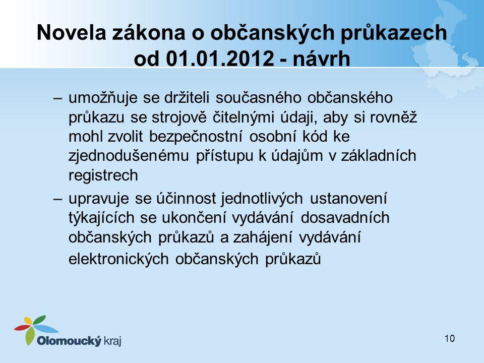 10 Novela zákona o občanských průkazech od 01.01.2012 - návrh –umožňuje se držiteli současného občanského průkazu se strojově čitelnými údaji, aby si