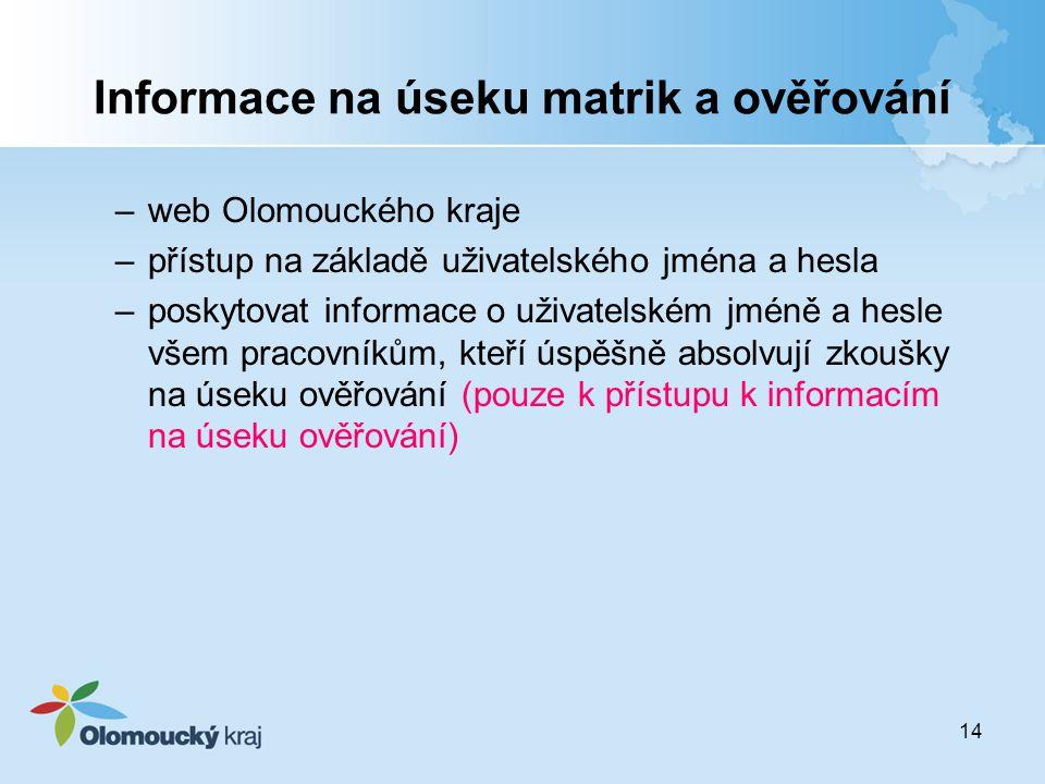 14 Informace na úseku matrik a ověřování –web Olomouckého kraje –přístup na základě uživatelského jména a hesla –poskytovat informace o uživatelském j