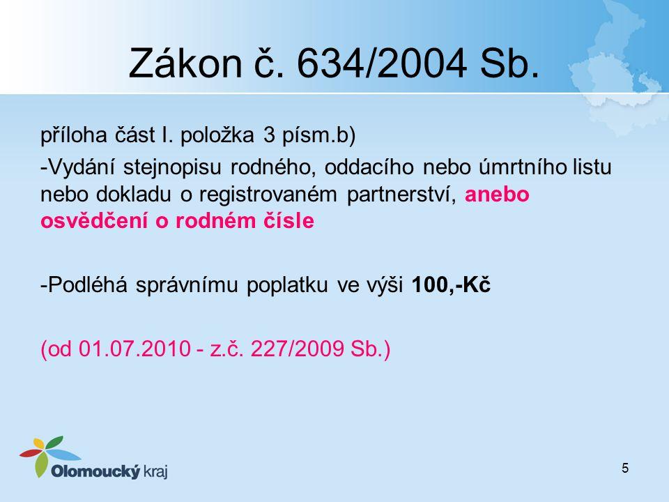 5 Zákon č. 634/2004 Sb. příloha část I. položka 3 písm.b) -Vydání stejnopisu rodného, oddacího nebo úmrtního listu nebo dokladu o registrovaném partne