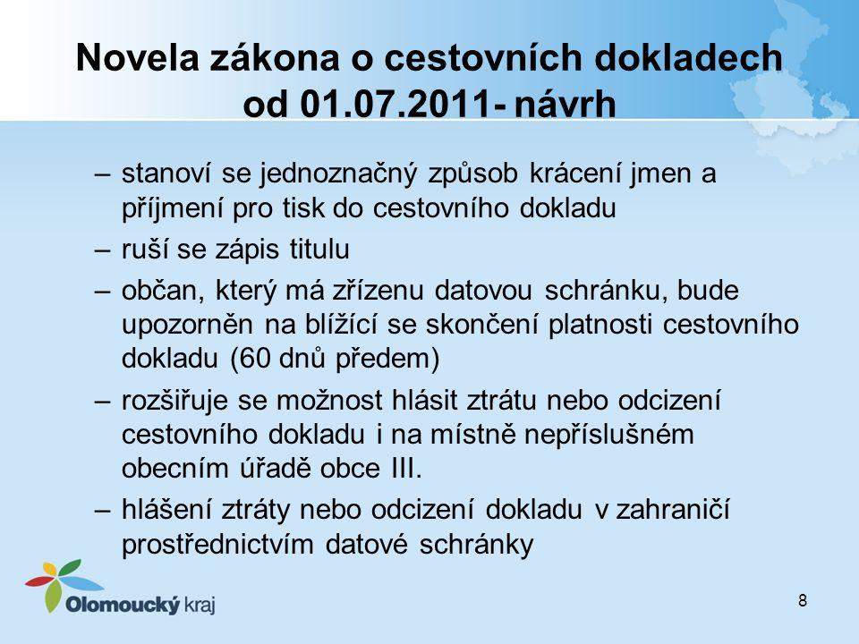 8 Novela zákona o cestovních dokladech od 01.07.2011- návrh –stanoví se jednoznačný způsob krácení jmen a příjmení pro tisk do cestovního dokladu –ruš