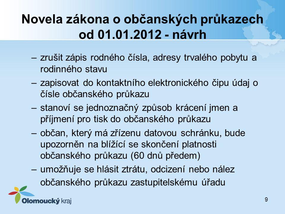 9 Novela zákona o občanských průkazech od 01.01.2012 - návrh –zrušit zápis rodného čísla, adresy trvalého pobytu a rodinného stavu –zapisovat do konta
