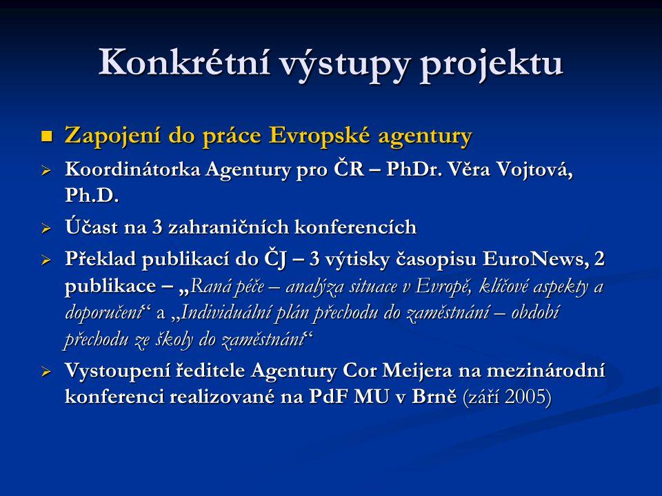 Konkrétní výstupy projektu Zapojení do práce Evropské agentury Zapojení do práce Evropské agentury  Koordinátorka Agentury pro ČR – PhDr.
