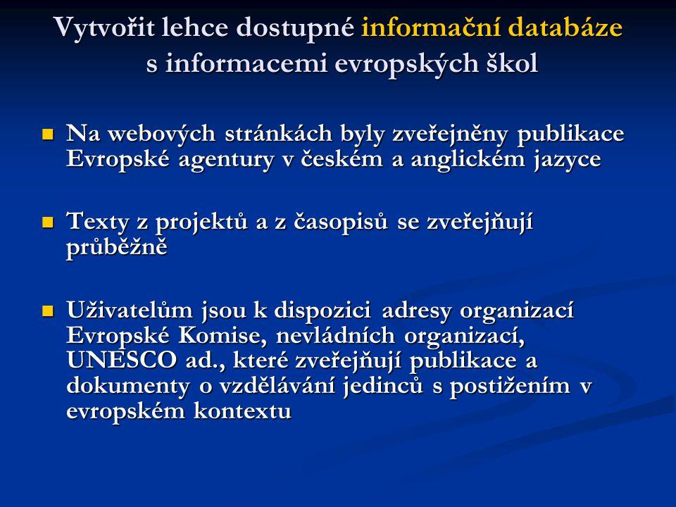 Vytvořit lehce dostupné informační databáze s informacemi evropských škol Na webových stránkách byly zveřejněny publikace Evropské agentury v českém a anglickém jazyce Na webových stránkách byly zveřejněny publikace Evropské agentury v českém a anglickém jazyce Texty z projektů a z časopisů se zveřejňují průběžně Texty z projektů a z časopisů se zveřejňují průběžně Uživatelům jsou k dispozici adresy organizací Evropské Komise, nevládních organizací, UNESCO ad., které zveřejňují publikace a dokumenty o vzdělávání jedinců s postižením v evropském kontextu Uživatelům jsou k dispozici adresy organizací Evropské Komise, nevládních organizací, UNESCO ad., které zveřejňují publikace a dokumenty o vzdělávání jedinců s postižením v evropském kontextu