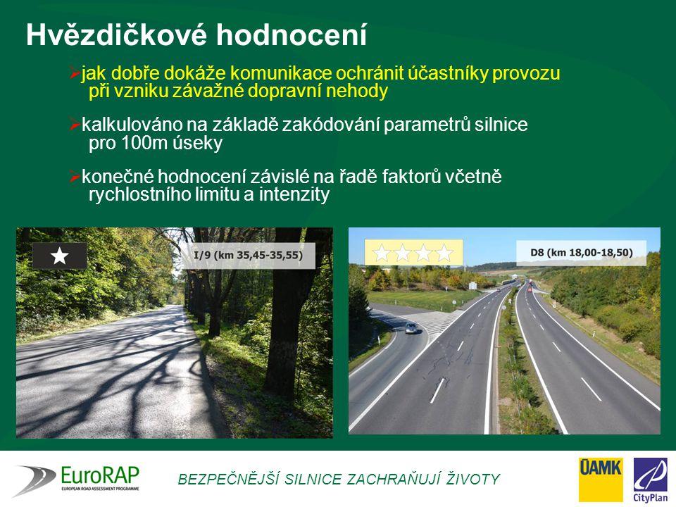 BEZPEČNĚJŠÍ SILNICE ZACHRAŇUJÍ ŽIVOTY Hvězdičkové hodnocení  jak dobře dokáže komunikace ochránit účastníky provozu při vzniku závažné dopravní nehod