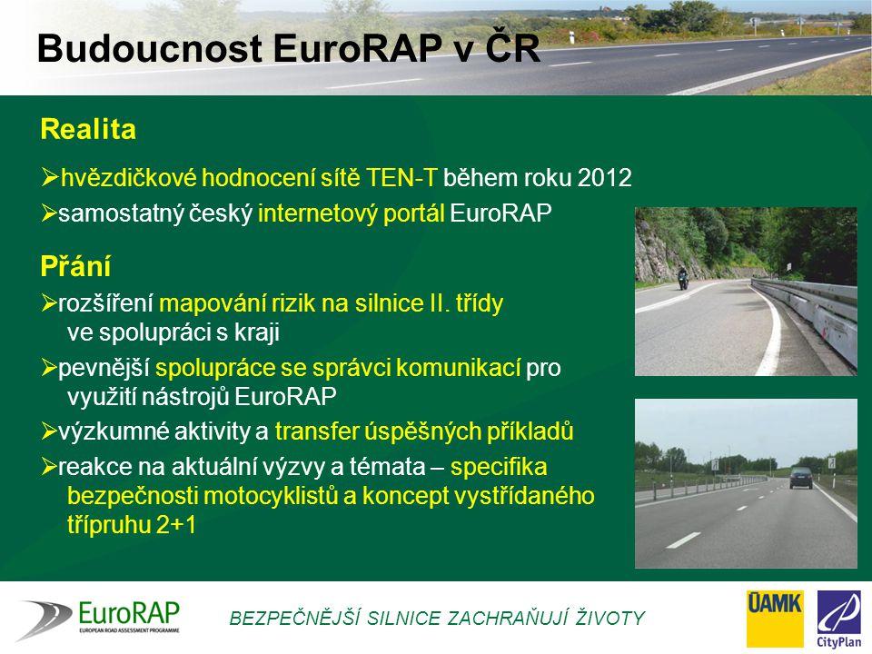 BEZPEČNĚJŠÍ SILNICE ZACHRAŇUJÍ ŽIVOTY  hvězdičkové hodnocení sítě TEN-T během roku 2012  samostatný český internetový portál EuroRAP  rozšíření map