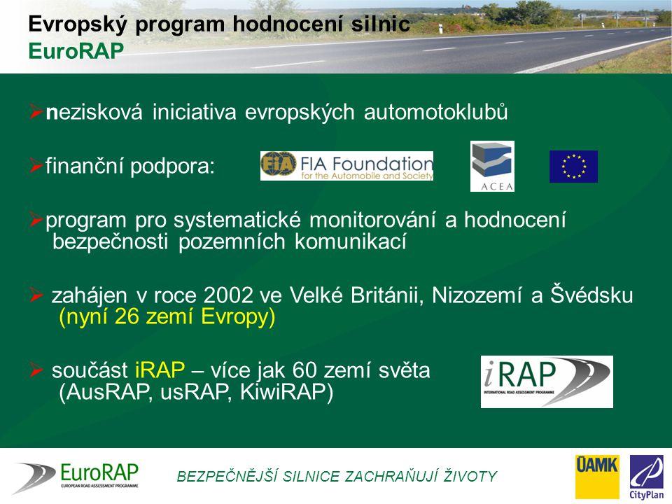 BEZPEČNĚJŠÍ SILNICE ZACHRAŇUJÍ ŽIVOTY  důraz FIA na bezpečnost silničního provozu  koncepční přístup ke všem složkám Bezpečného silničního systému  příspěvek ke globálním iniciativám na podporu zvyšování silniční bezpečnosti Proč EuroRAP?