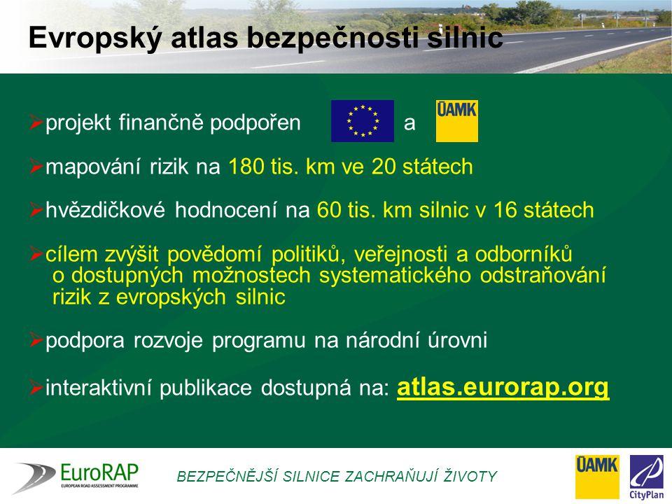 BEZPEČNĚJŠÍ SILNICE ZACHRAŇUJÍ ŽIVOTY Hlavní nástroje EuroRAP MAPOVÁNÍ RIZIKOVOSTI SILNIC  založené na statistikách nehodovosti  zobrazuje riziko, že se účastník silničního provozu stane součástí nehody se smrtelnými nebo vážnými následky  !!!NELZE PODLE NĚHO ROZHODOVAT O KVALITĚ SILNICE!!.