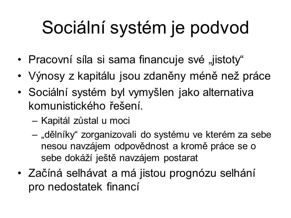 """Sociální systém je podvod Pracovní síla si sama financuje své """"jistoty"""" Výnosy z kapitálu jsou zdaněny méně než práce Sociální systém byl vymyšlen jak"""