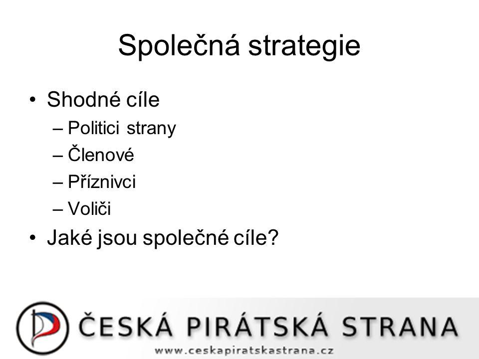 Společná strategie Shodné cíle –Politici strany –Členové –Příznivci –Voliči Jaké jsou společné cíle?