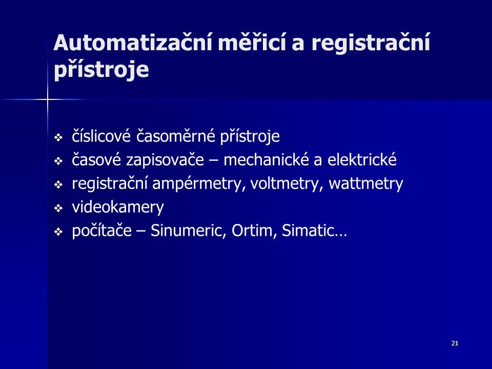 21 Automatizační měřicí a registrační přístroje   číslicové časoměrné přístroje   časové zapisovače – mechanické a elektrické   registrační ampérmetry, voltmetry, wattmetry   videokamery   počítače – Sinumeric, Ortim, Simatic…