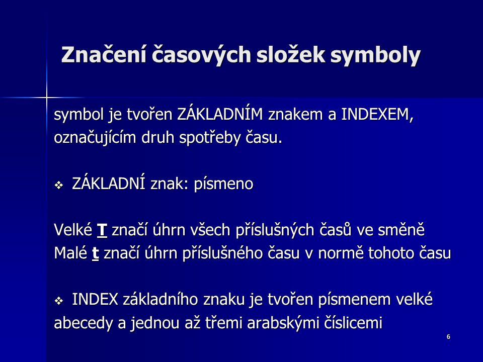 6 Značení časových složek symboly symbol je tvořen ZÁKLADNÍM znakem a INDEXEM, označujícím druh spotřeby času.  ZÁKLADNÍ znak: písmeno Velké T značí