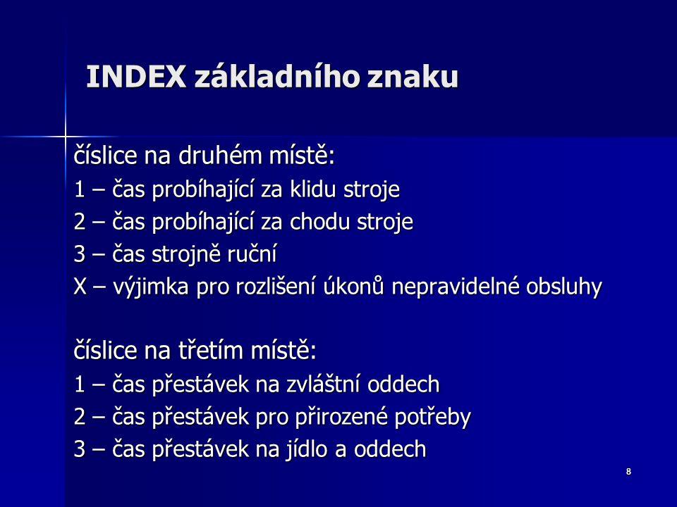 8 INDEX základního znaku číslice na druhém místě: 1 – čas probíhající za klidu stroje 2 – čas probíhající za chodu stroje 3 – čas strojně ruční X – vý