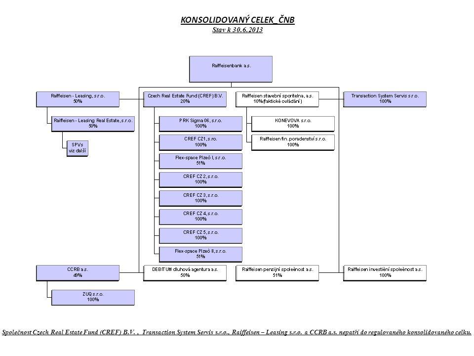 KONSOLIDOVANÝ CELEK_ČNB Stav k 30.6.2013 Společnost Czech Real Estate Fund (CREF) B.V., Transaction System Servis s.r.o., Raiffeisen – Leasing s.r.o.